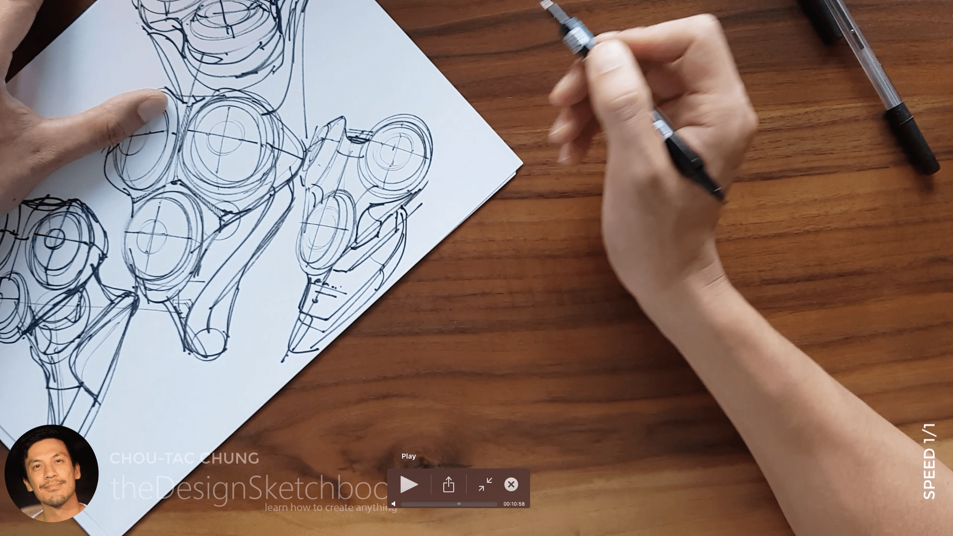Sketching an electric shaver PHILIPS with the pilot twin marker pen - the design sketchbook - chung chou tac e9