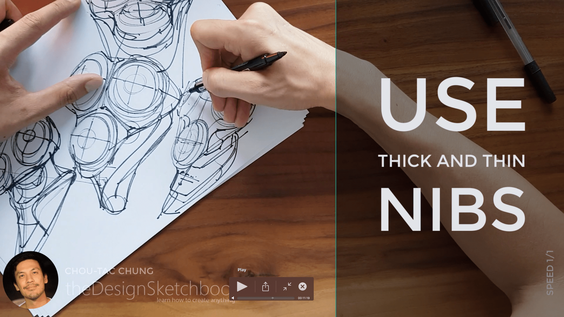 Sketching an electric shaver PHILIPS with the pilot twin marker pen - the design sketchbook - chung chou tac f1
