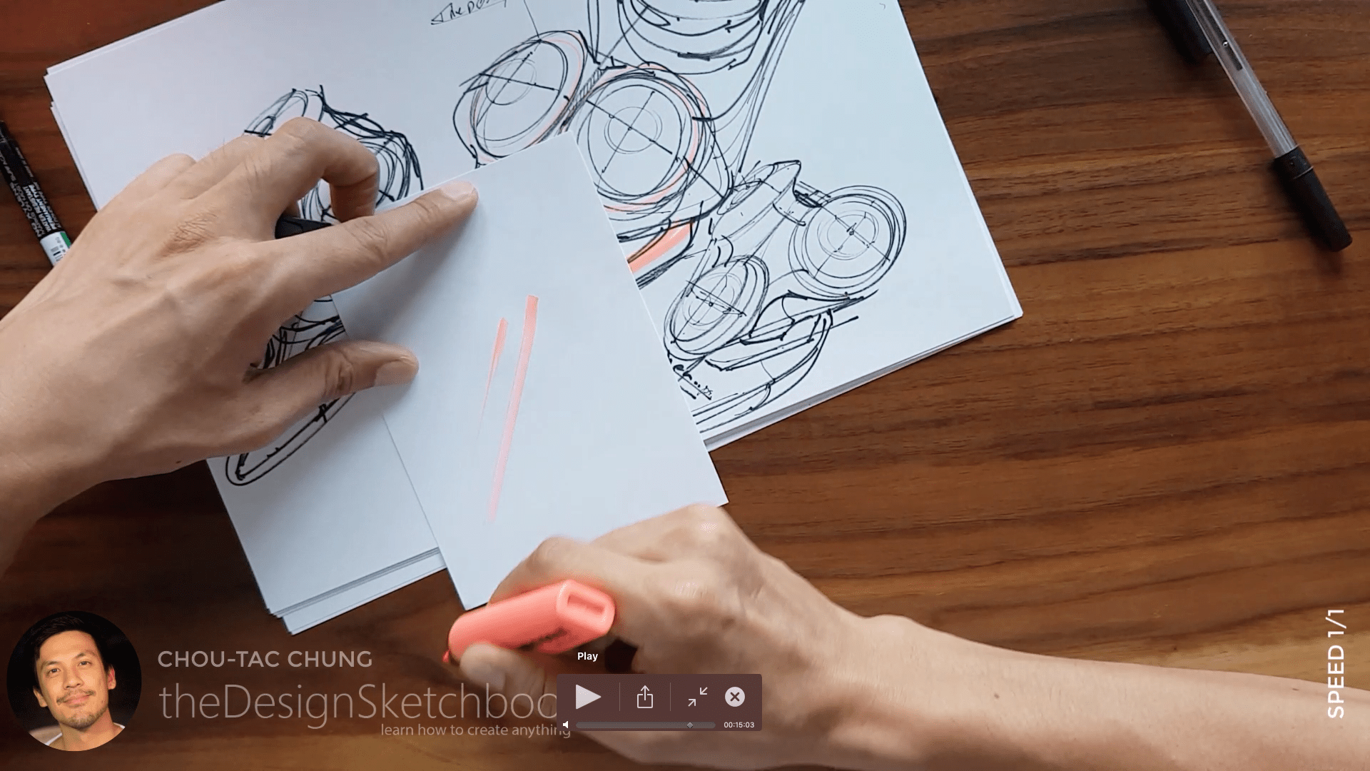 Sketching an electric shaver PHILIPS with the pilot twin marker pen - the design sketchbook - chung chou tac g1