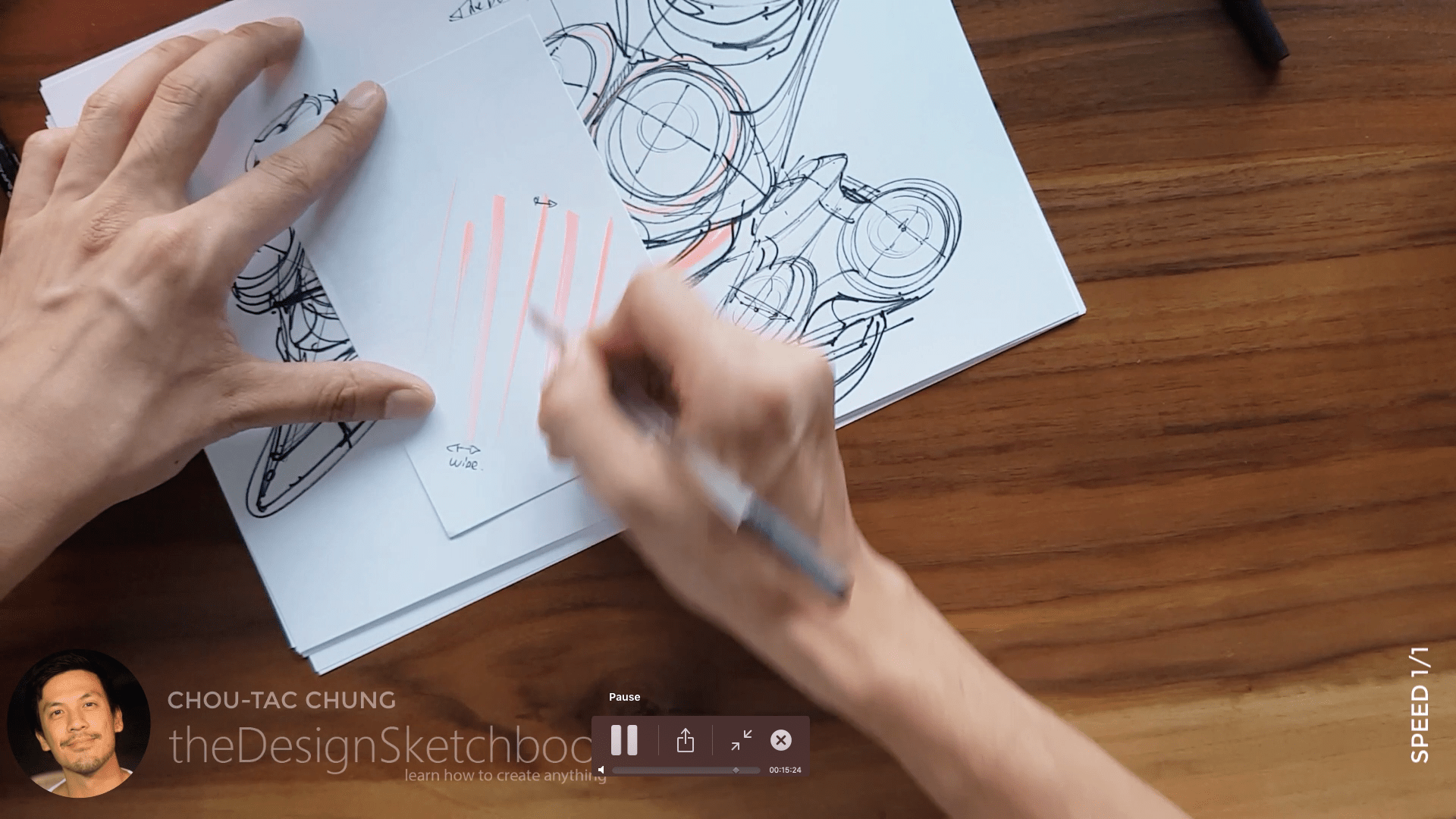 Sketching an electric shaver PHILIPS with the pilot twin marker pen - the design sketchbook - chung chou tac g2