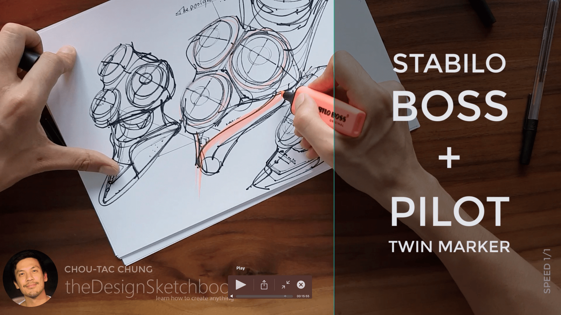 Sketching an electric shaver PHILIPS with the pilot twin marker pen - the design sketchbook - chung chou tac g3