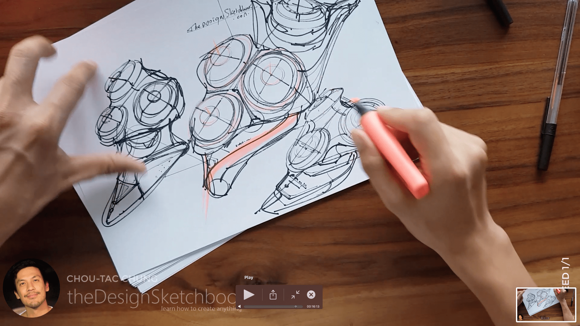 Sketching an electric shaver PHILIPS with the pilot twin marker pen - the design sketchbook - chung chou tac g5