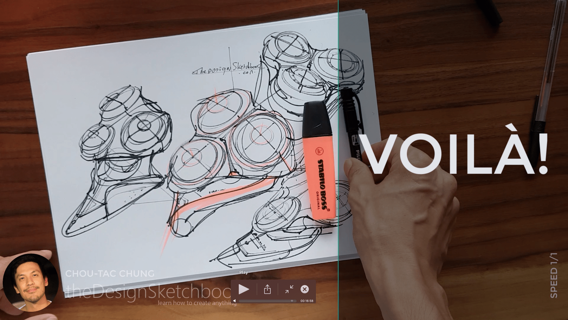 Sketching an electric shaver PHILIPS with the pilot twin marker pen - the design sketchbook - chung chou tac g7