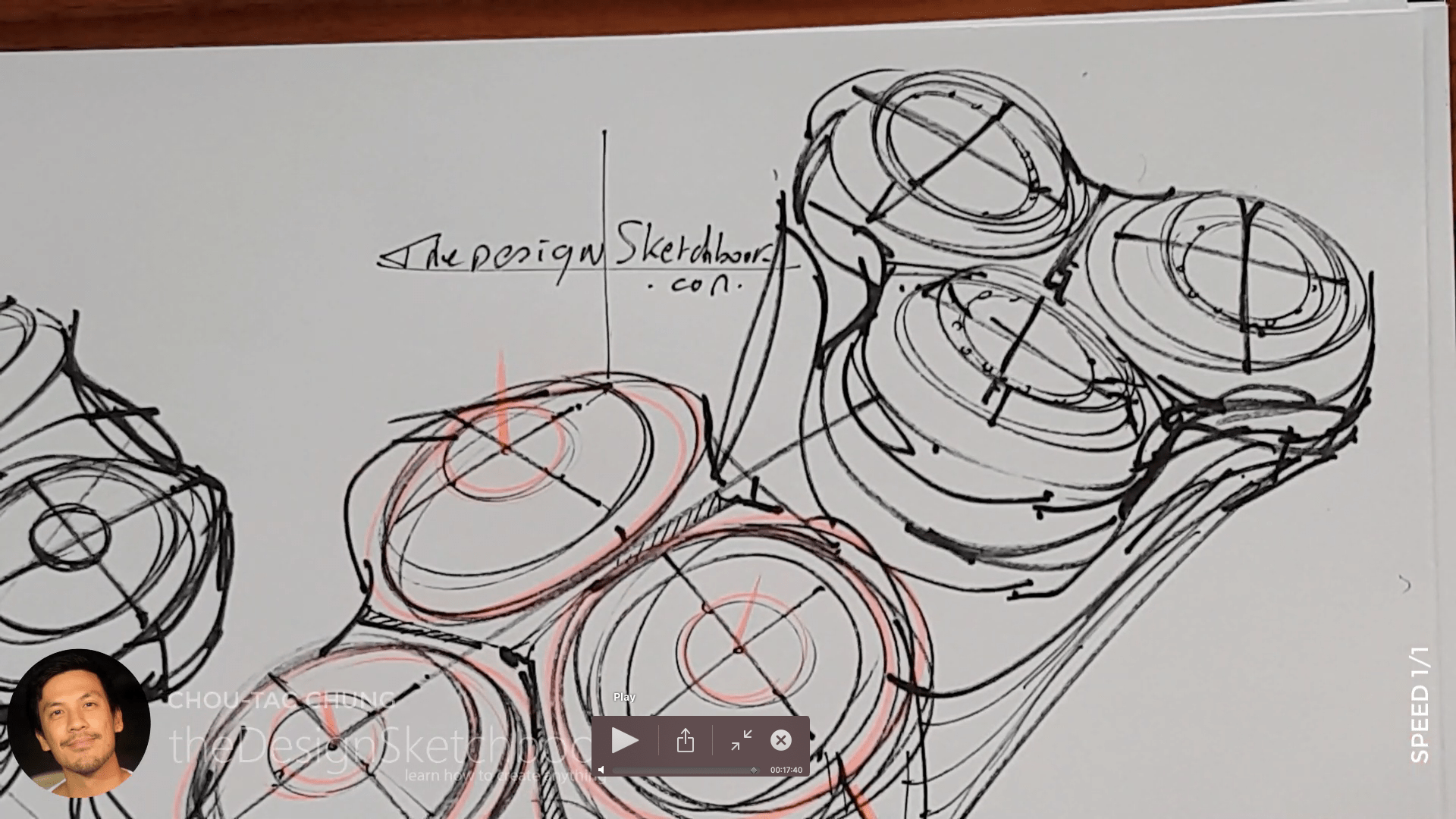 Sketching an electric shaver PHILIPS with the pilot twin marker pen - the design sketchbook - chung chou tac g9