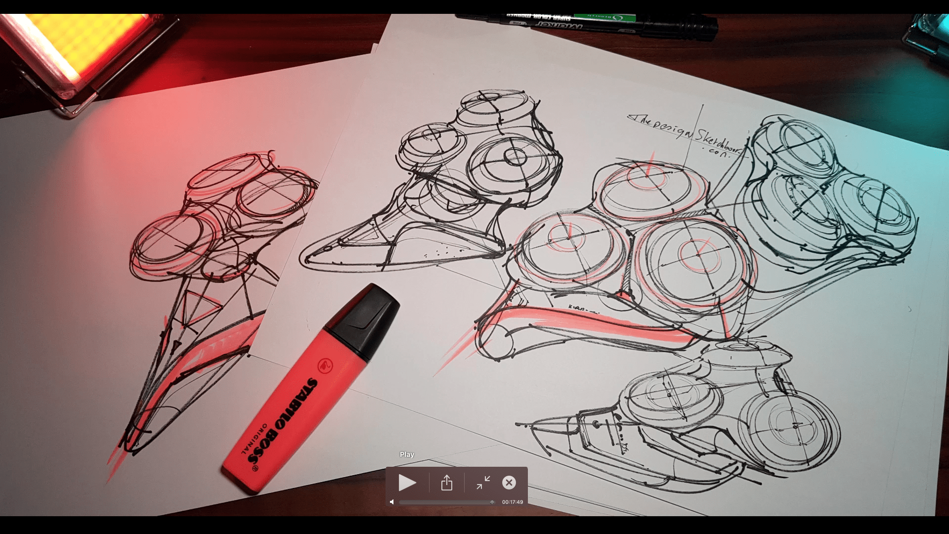Sketching an electric shaver PHILIPS with the pilot twin marker pen - the design sketchbook - chung chou tac h