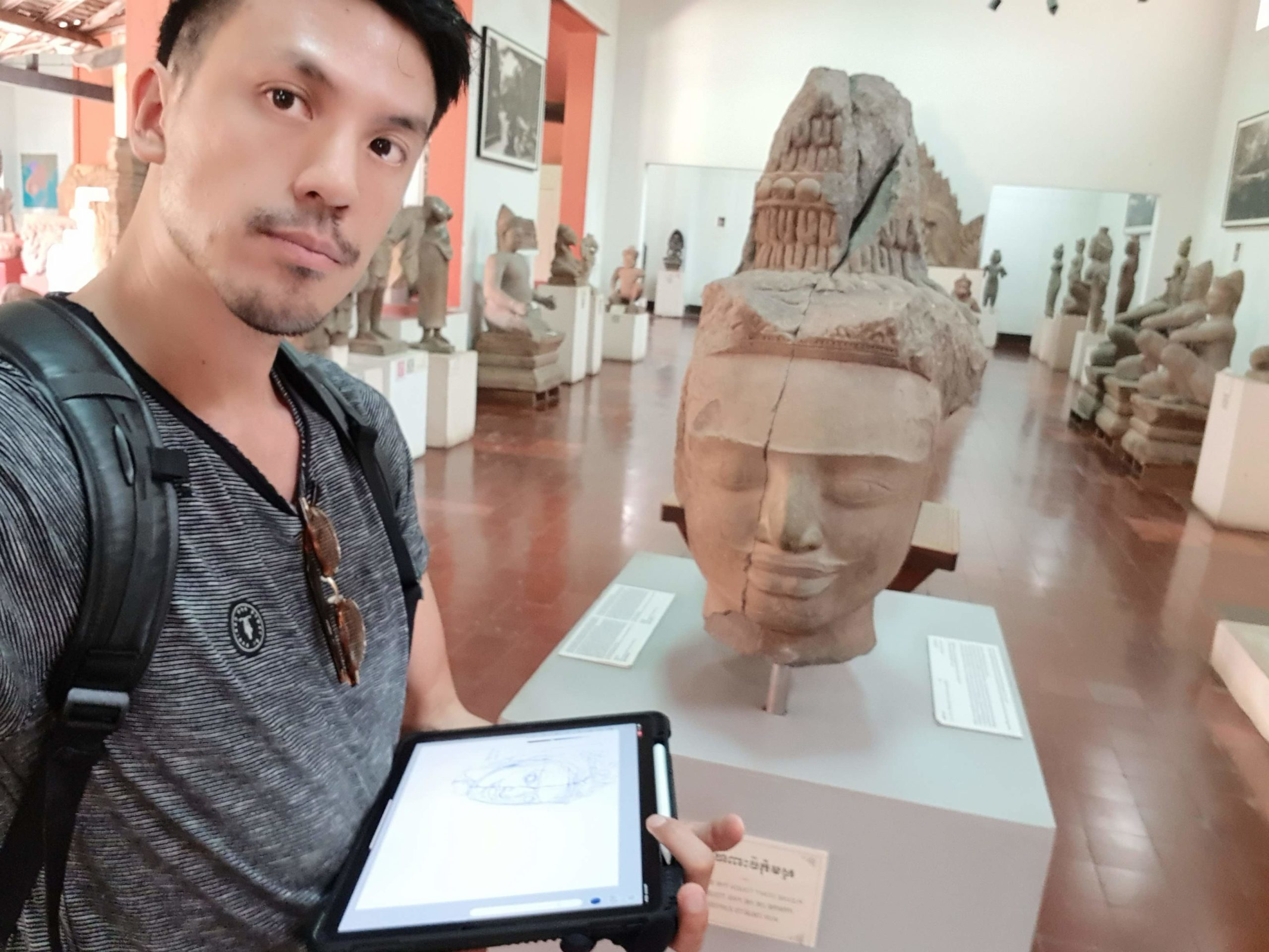 National Museum of Cambodia stutues sketching the design sketchbook chou tac chung d