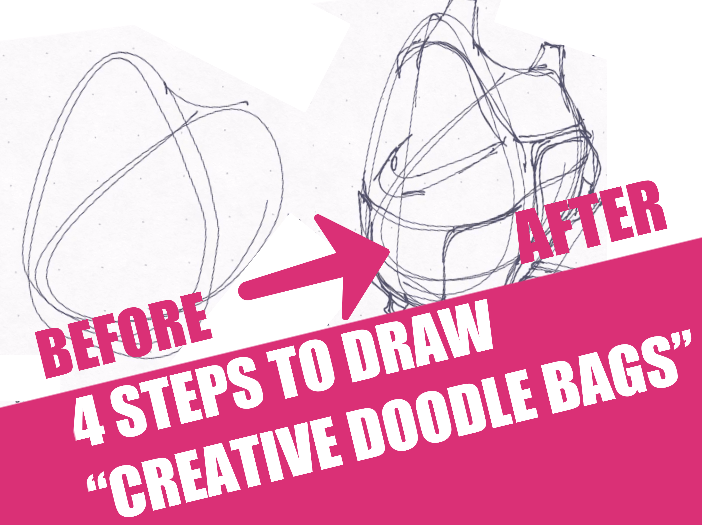 How to draw Creative Doodle Bag - Product design sketching Free video tutorial drawing