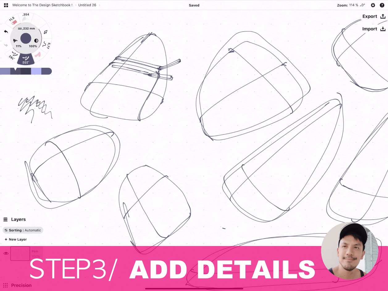 How to draw Creative random doodles of bags - Product design sketching - The Design Sketchbook Free video tutorial guide a13