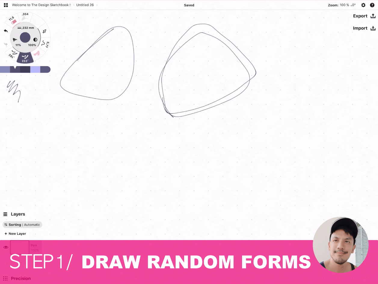 How to draw Creative random doodles of bags - Product design sketching - The Design Sketchbook Free video tutorial guide a2 Draw random forms