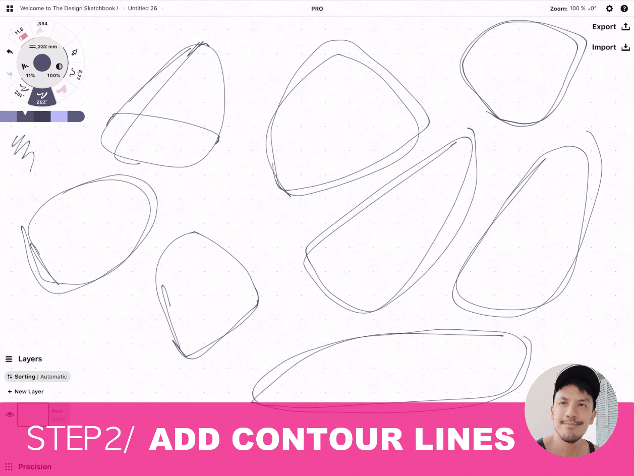 How to draw Creative random doodles of bags - Product design sketching - The Design Sketchbook Free video tutorial guide a6 Add contour lines