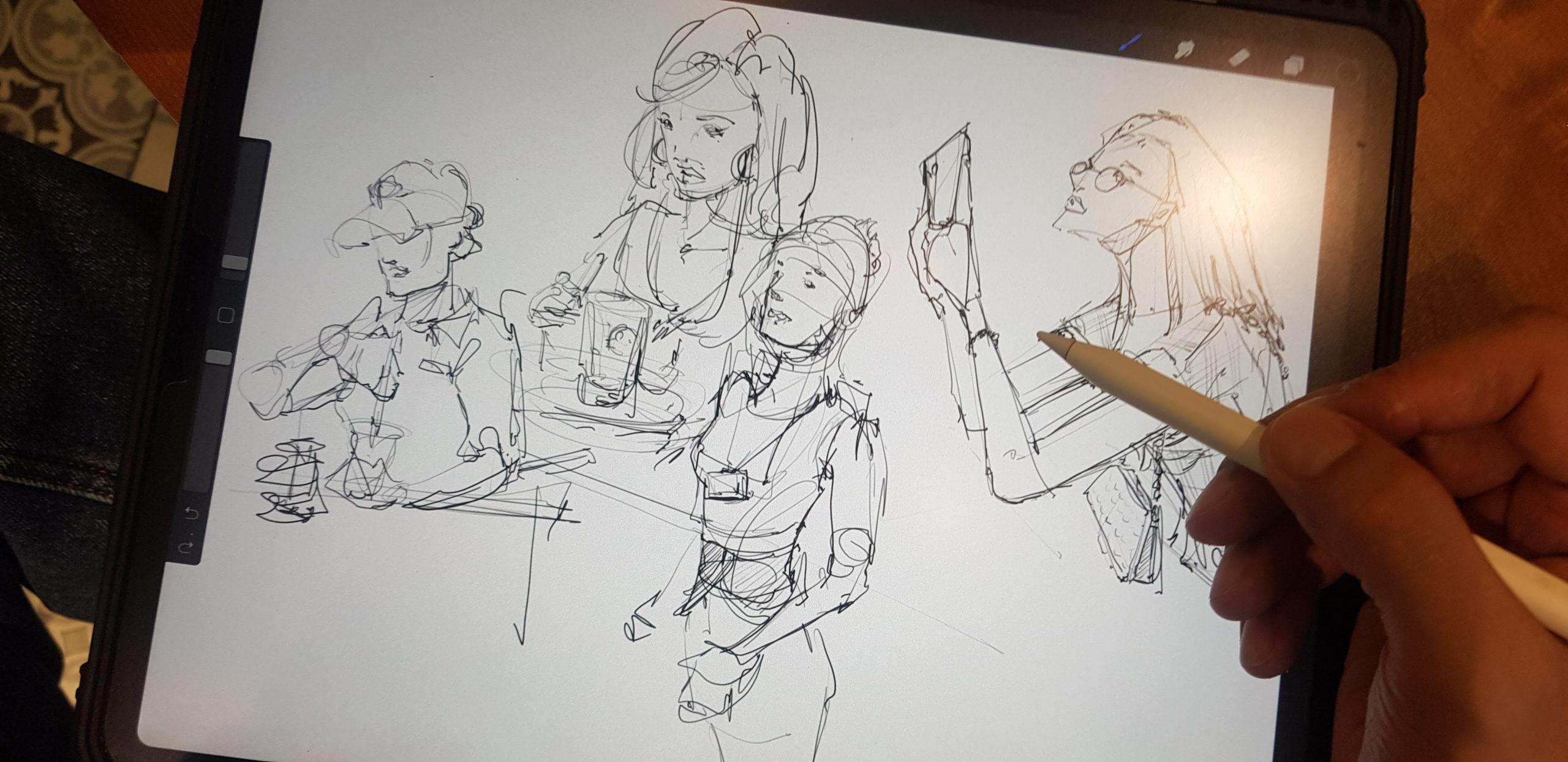 sketching at Phuc Long cafe in Vietnam loosen up your lines to draw people with ipad pro and pencil dont give up hb