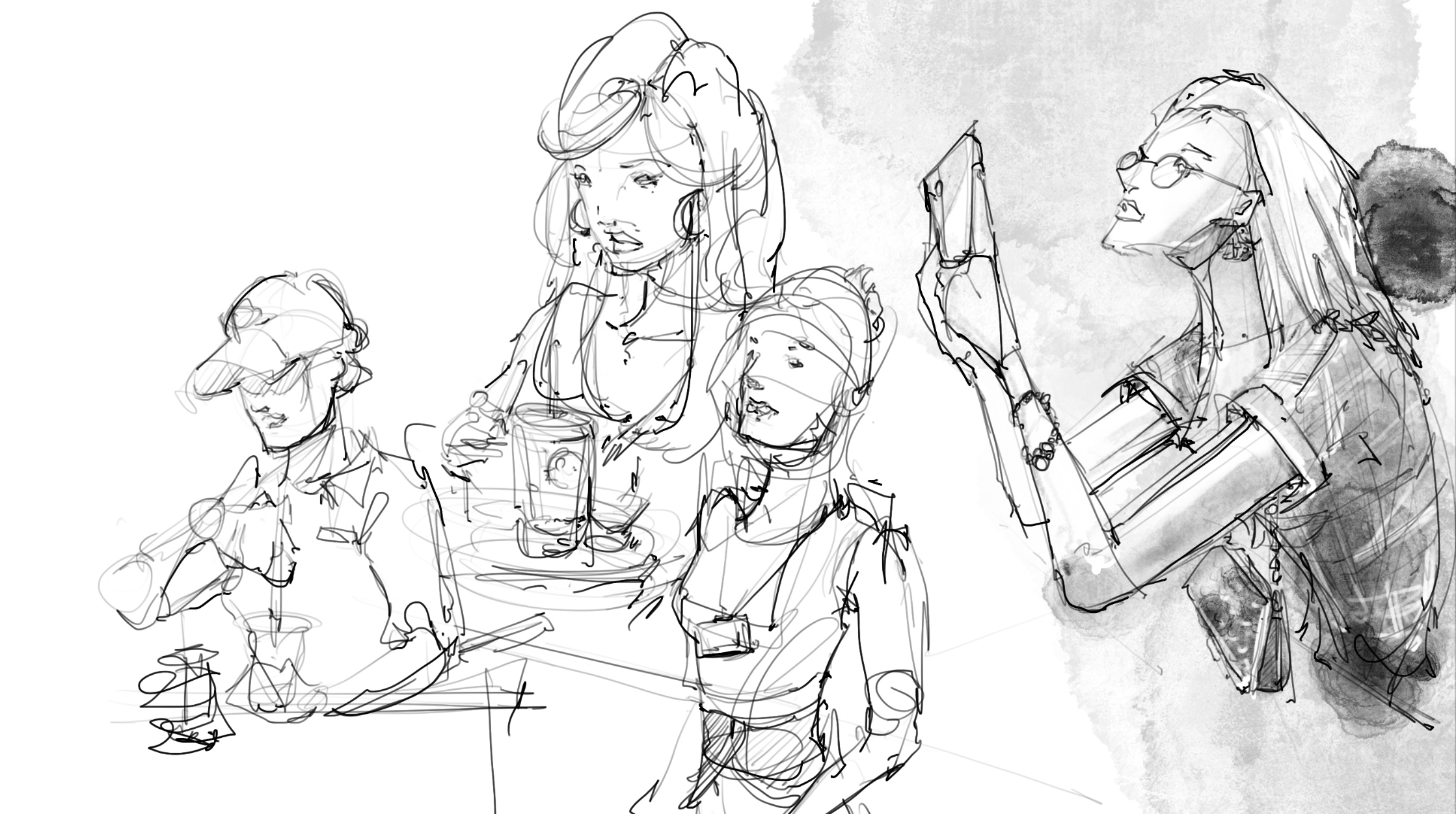 sketching at Phuc Long cafe in Vietnam loosen up your lines to draw people with ipad pro and pencil dont give up procreate ipad pro pencil drawing