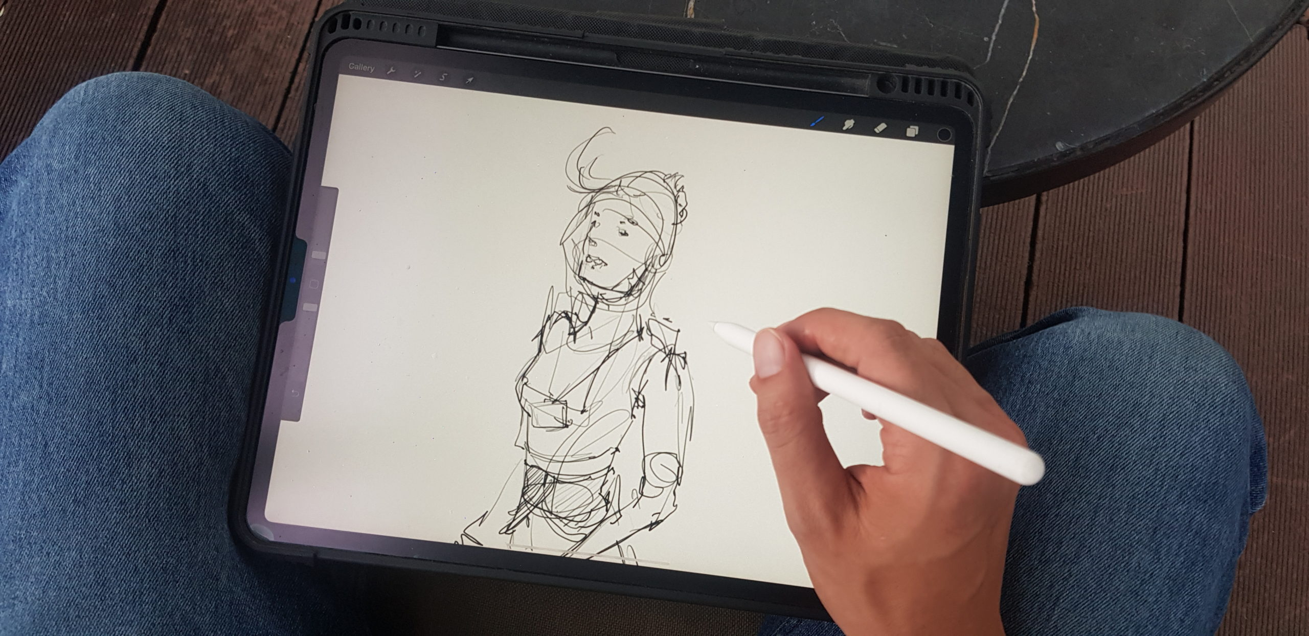 sketching at Phuc Long cafe in Vietnam loosen up your lines to draw people with ipad pro and pencil stiff lines